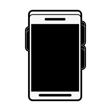 multimedia icons: Smartphone with blank screen icon image vector illustration design in black and white.