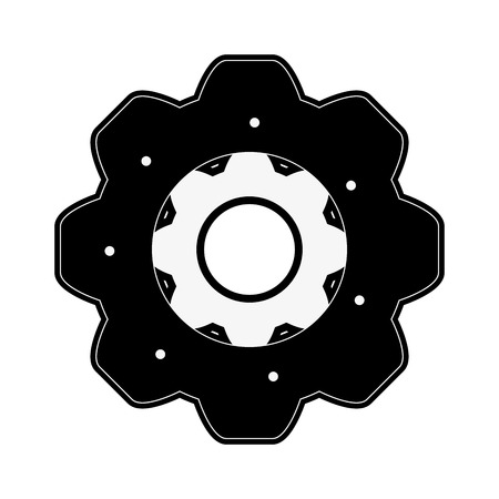 power: Single gear icon image vector illustration design  black and white.
