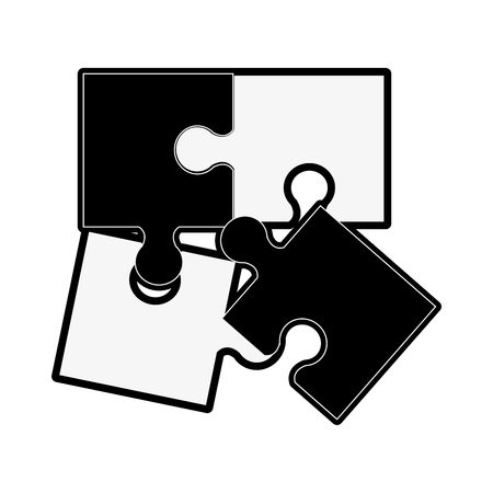 forme: puzzle pieces separated icon image vector illustration design  black and white