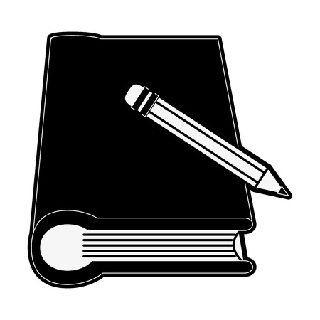 onderwijs: book with pencil icon image vector illustration design  black and white