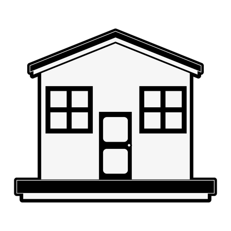 residential: family house or home icon image vector illustration design  black and white Illustration