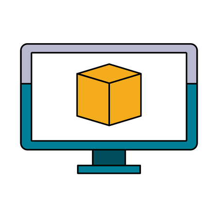 forme: A computer with cube on screen icon image vector illustration design.