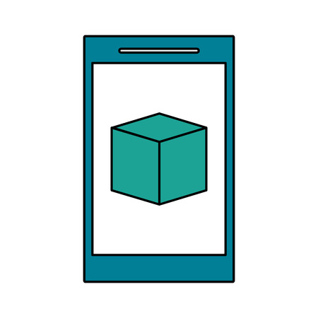 multimedia icons: A smartphone with cube on screen icon image vector illustration design. Illustration