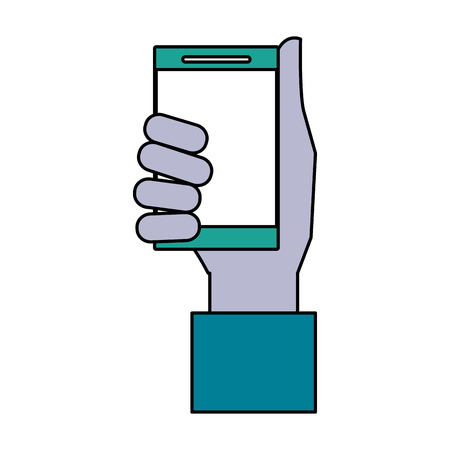 multimedia icons: A hand holding smartphone icon image vector illustration design.