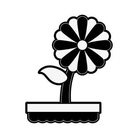 forme: flower in pot icon image vector illustration design  black and white