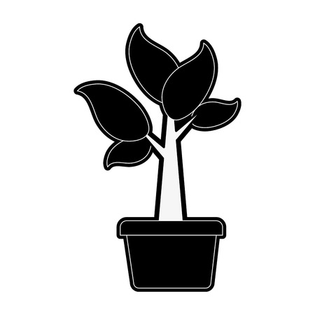 interior design: plant sprout abstract  icon image vector illustration design  black and white Illustration