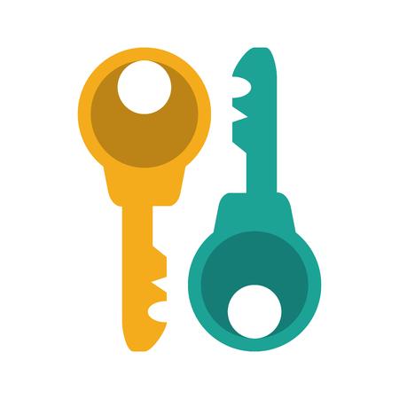two keys icon image vector illustration design