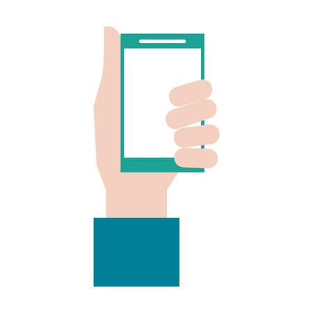 multimedia icons: hand holding smartphone icon image vector illustration design