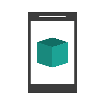 multimedia icons: smartphone with cube on screen icon image vector illustration design