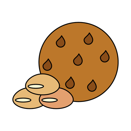 chocolate chip cookie pastry related icon image vector illustration design