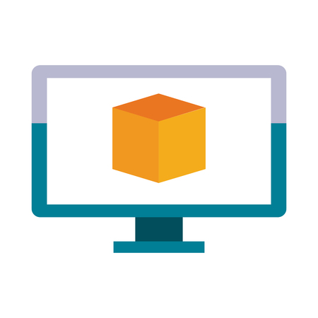forme: computer with cube on screen icon image vector illustration design Illustration