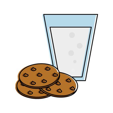 우유 과자와 초콜릿 칩 쿠키 관련 아이콘 이미지 벡터 일러스트 디자인