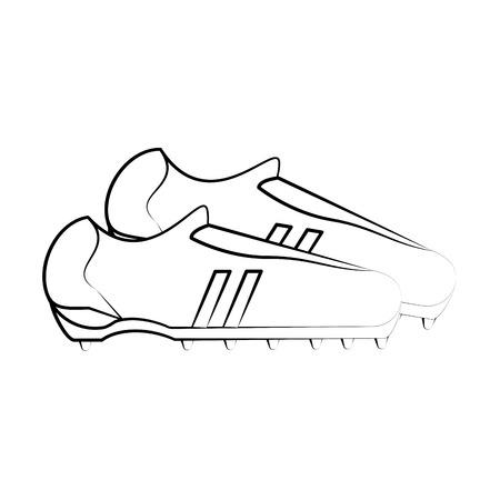 forme: cleats shoes football soccer icon image vector illustration design  black sketch line