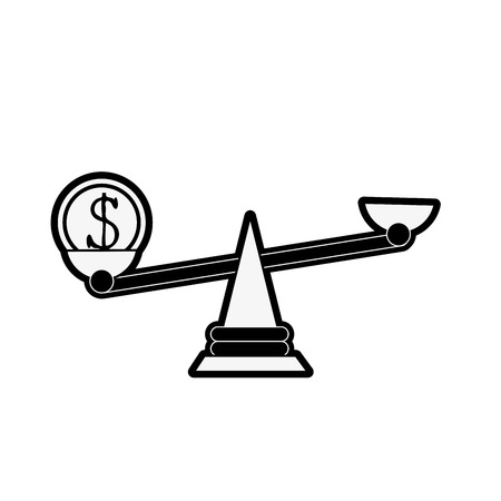 coin on balance scale money icon image vector illustration design  black and white
