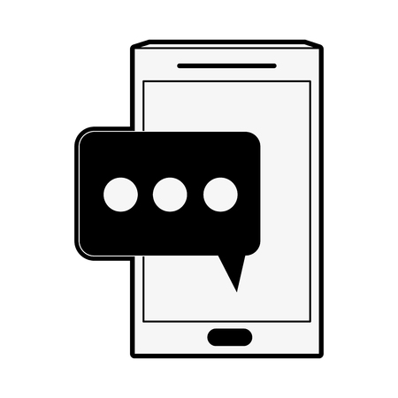 multimedia icons: smartphone with chat bubble icon image vector illustration design  black and white