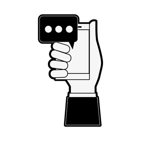 multimedia icons: hand holding smartphone with chat bubble icon image vector illustration design black and white