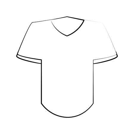 t shirt with v neck icon image vector illustration design  black sketch line