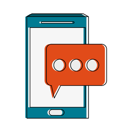 multimedia icons: smartphone with chat bubble icon image vector illustration design Illustration