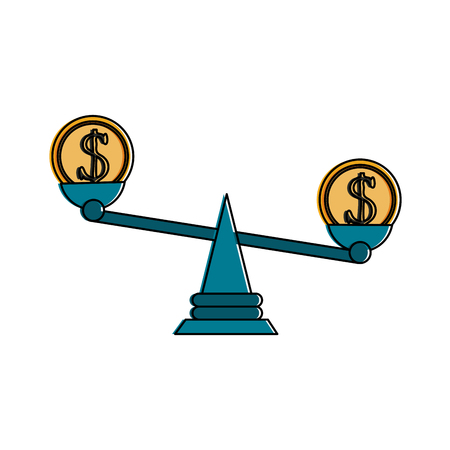coin on balance scale money icon image vector illustration design