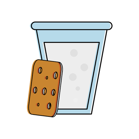 biscuits with glass of milk pastry related icon image vector illustration design Illustration