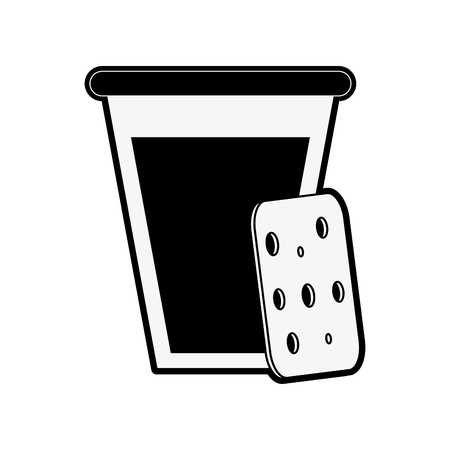 forme: biscuits with glass of milk pastry related icon image vector illustration design  black and white