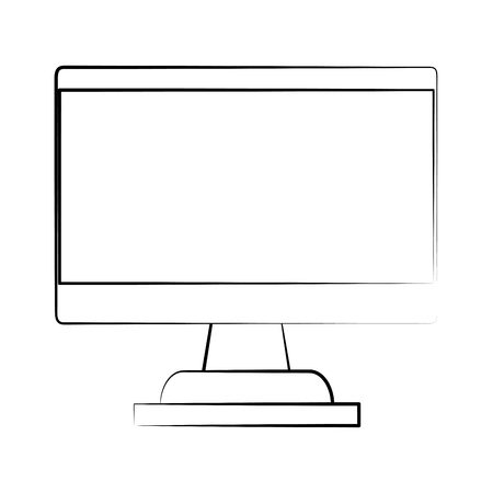 forme: computer monitor with blank screen icon image vector illustration design  black sketch line