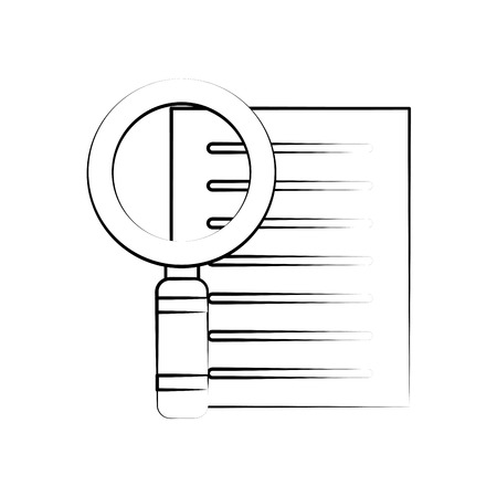 forme: magnfying glass search on document icon image vector illustration design  black sketch line