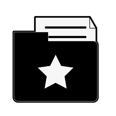 onderwijs: star file folder with document icon image vector illustration design