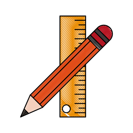 onderwijs: Pencil and ruler icon vector illustration graphic design