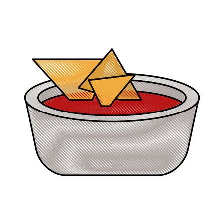 chili sauce: Nachos mexican food icon vector illustration graphic design
