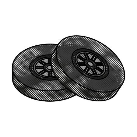 forme: Roue de voiture pneus icône vector illustration design graphique
