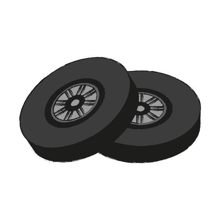 forme: Car wheel tires icon vector illustration graphic design