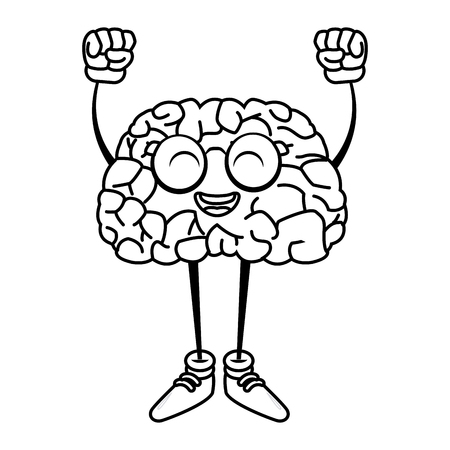 illustration: Cute brain cartoon with hands up icon vector illustration graphic design