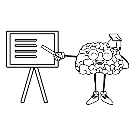 illustration: Cute brain teaching cartoon icon vector illustration graphic design Illustration