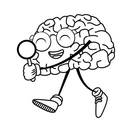 illustration: Cute brain searching something icon vector illustration graphic design Illustration