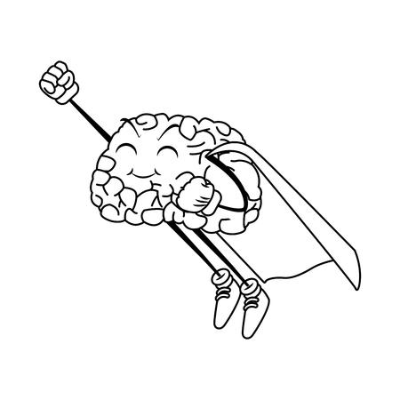 illustration: Super hero brain cartoon icon vector illustration graphic design Illustration