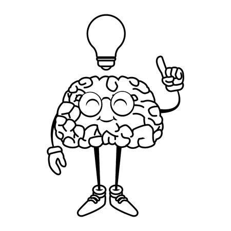 illustration: Nerd brain with idea cartoon icon vector illustration graphic design Illustration