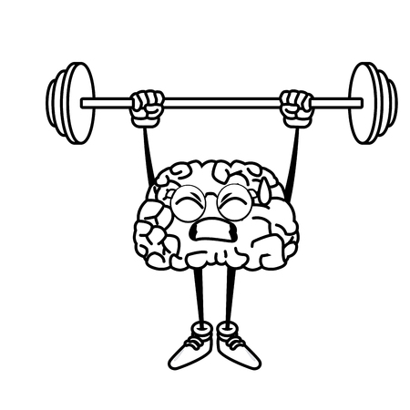 illustration: Cute brain cartoon doing exercise icon vector illustration graphic design Illustration