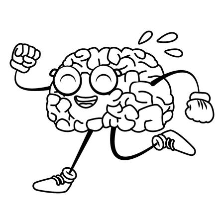 illustration: Brain cartoon running icon vector illustration graphic design