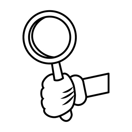 illustration: Glova hadn with magnifying glass icon vector illustration graphic design Illustration