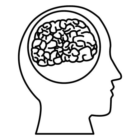 illustration: Human brain silhouette icon vector illustration graphic design