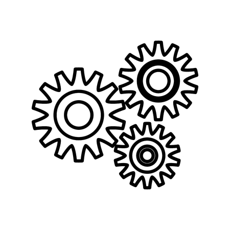 power: Gears machinery pieces icon vector illustration graphic design Illustration