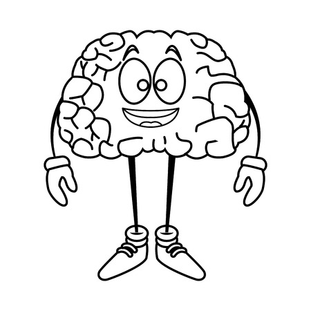 illustration: Cute brain cartoon icon vector illustration graphic design