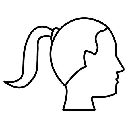 illustration: Woman head silhouette icon vector illustration graphic design