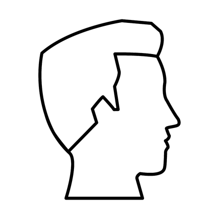 illustration: Man head silhouette icon vector illustration graphic design Illustration