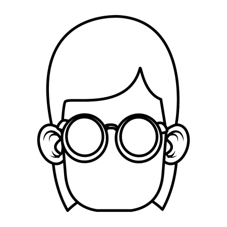 illustration: Cute girl with glasses cartoon icon vector illustration graphic design Illustration