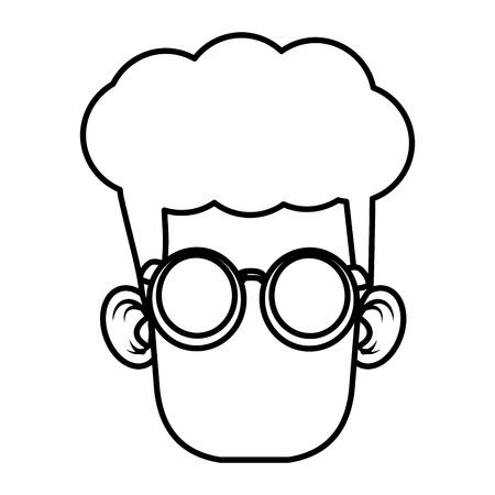 illustration: Cute boy with glasses cartoon icon vector illustration graphic design Illustration