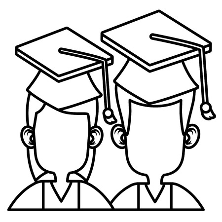 onderwijs: Students in graduation icon vector illustration graphic design