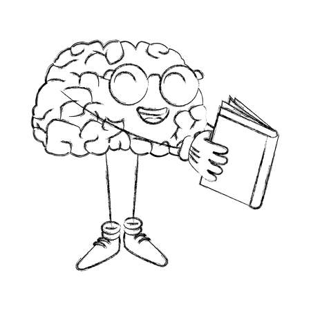 onderwijs: Cute brain reading cartoon icon vector illustration graphic design