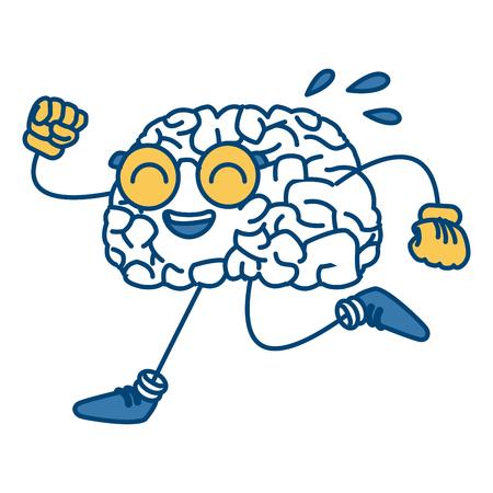 Brain cartoon running icon vector illustration graphic design